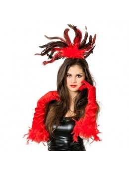 Coiffe cabaret plumes rouge et noire