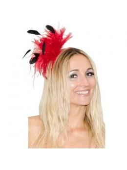 Serre tête cabaret plumes rouge et noir