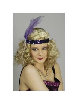Bandeau paillette violet avec plume violette