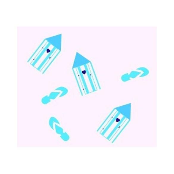 16 Confetti de table plage turquoise