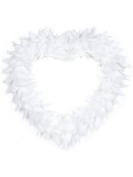 Coeur creux en plumes 35 cm Blanc