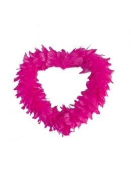 Coeur creux en plumes 25 cm Fuchsia