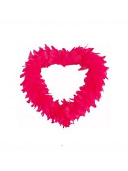 Coeur creux en plumes 25 cm Rouge