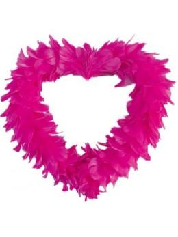 Coeur creux en plumes 35 cm Fuchsia