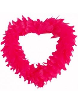 Coeur creux en plumes 35 cm Rouge