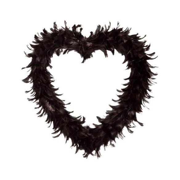 Coeur creux en plumes 35 cm noir
