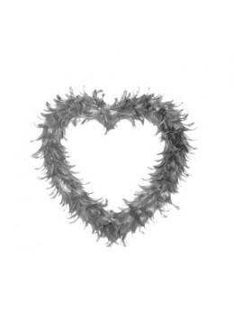 Coeur creux en plumes 25 cm Gris
