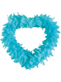 Coeur creux en plumes 35 cm Turquoise