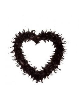Coeur creux en plumes 25cm noir