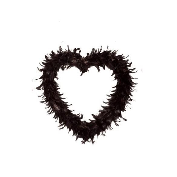 Coeur creux en plumes 25 cm noir