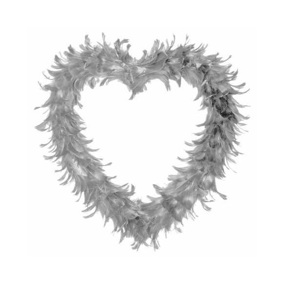 Coeur creux en plumes 35 cm Gris