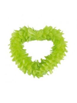 Coeur creux en plumes 25 cm Vert anis