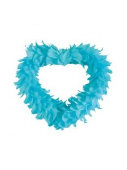 Coeur creux en plumes 25 cm Turquoise
