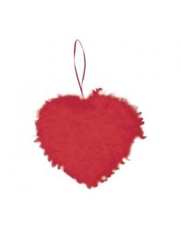 Coeur en plumes 30 cm Rouge