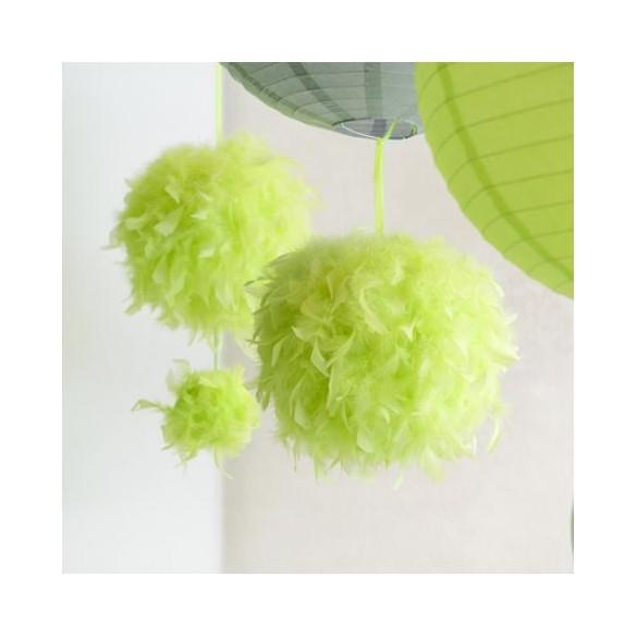 Boule en plumes 15 cm Vert anis