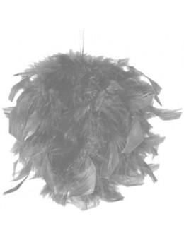 Boule en plumes 15 cm Gris