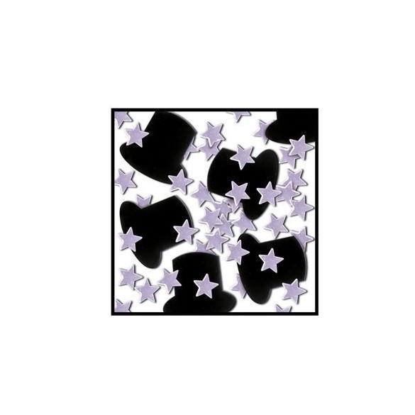 Confetti Etoiles argent Gibus Noir