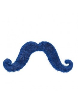 Moustache supporter bleu