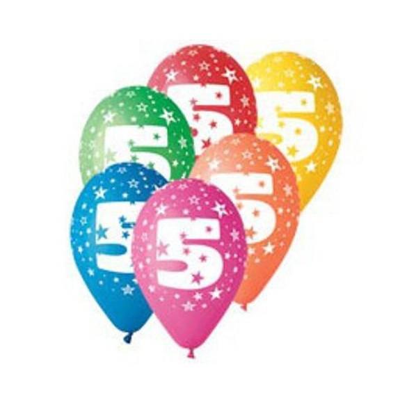 10 Ballons chiffre 5