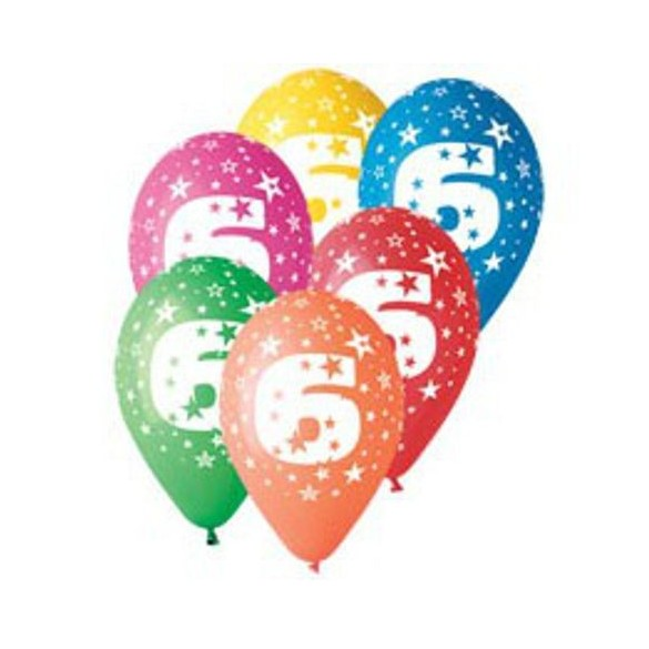 10 Ballons chiffre 6
