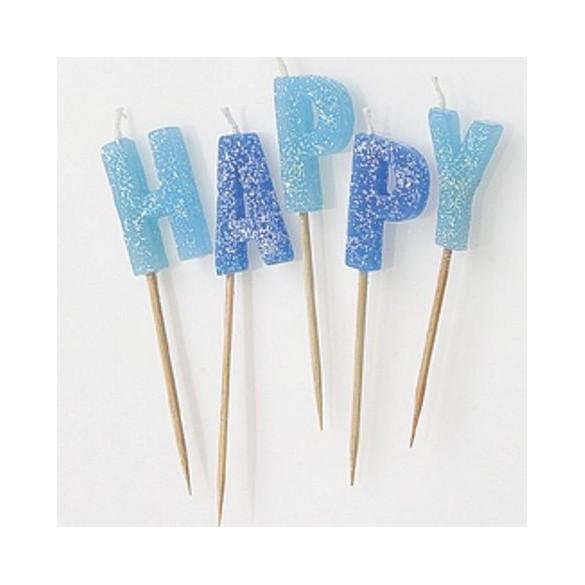 Bougies Happy Birthday ciel