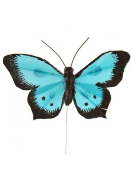 6 Papillons sur tige bicolores turquoise