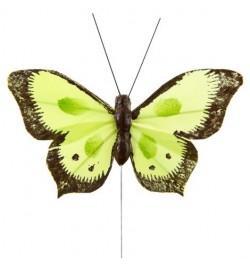 6 Papillons sur tige bicolores vert