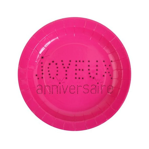 10 Assiettes rose motif anniversaire