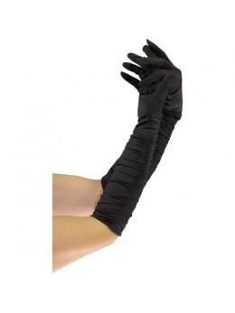 Gants plissés 43cm noir
