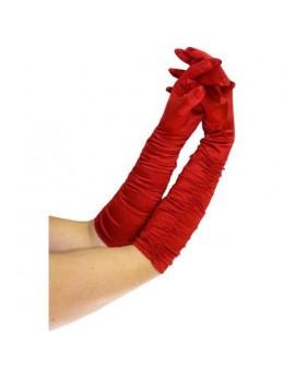 Gants plissés 43cm rouge