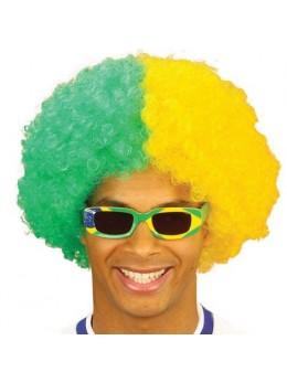 Perruque supporter vert et jaune