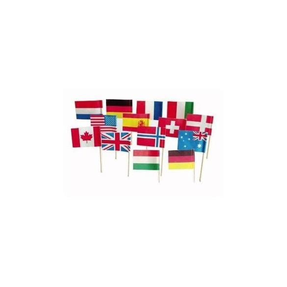 144 mini drapeaux Pays assortis