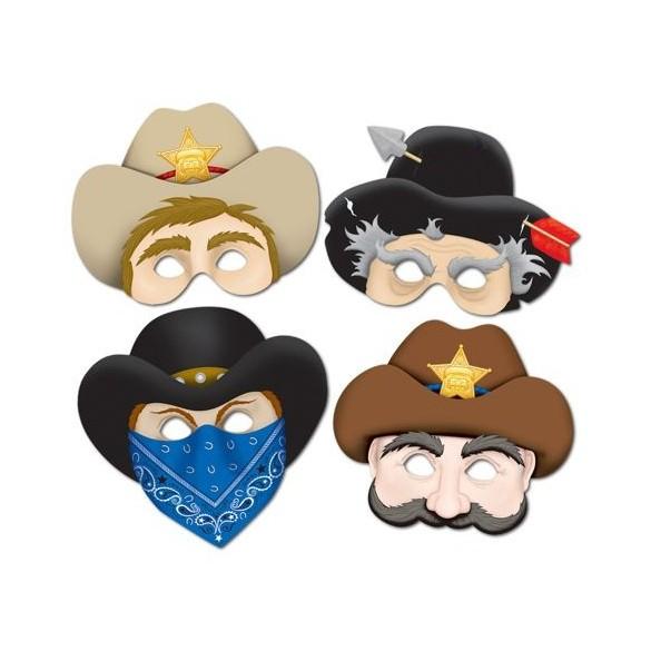 4 Masques carton western