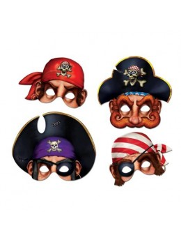 4 Masques carton pirates