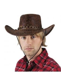 Chapeau cowboy cuir vieilli