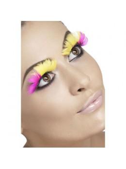 Faux-cils plumes jaune et rose