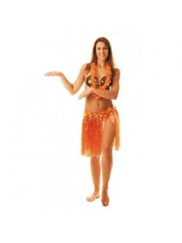 Jupe Hawai Orange Fleurs 45cm