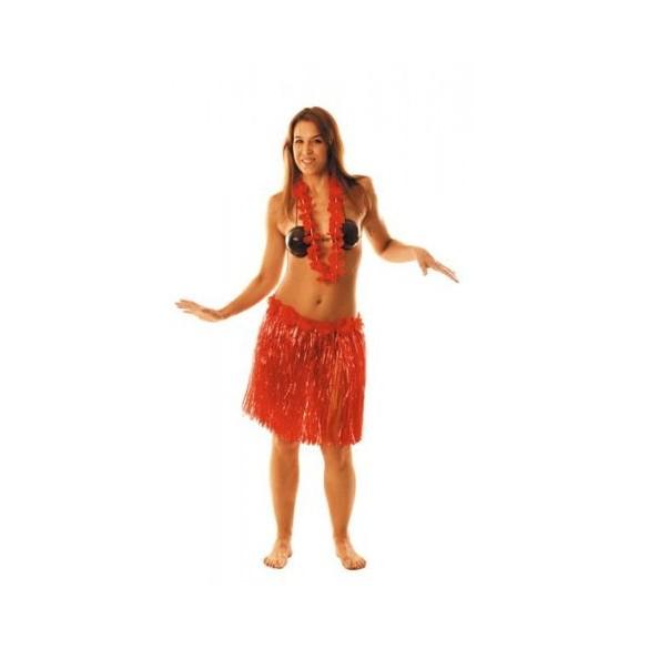 Jupe Hawai Rouge Fleurs 45cm