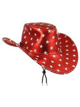 Chapeau cowboy rouge étoiles blanches