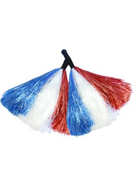 Paire Pompoms tricolore