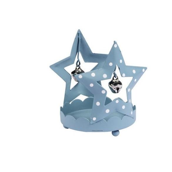 Photophore étoile grelot bleuté 7.5cm