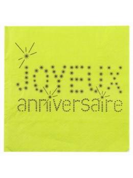 20 Serviettes anniversaires VIP vertes