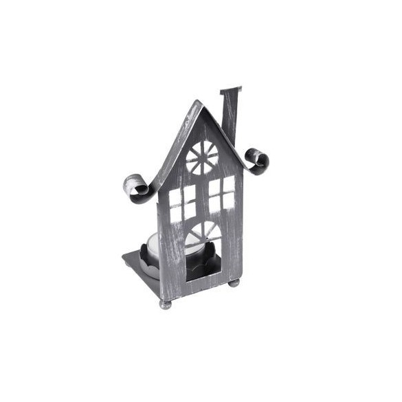 Bougeoir métal façade maison gris 14cm