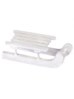 sachet de 4 luges blanc paillettes 6.5cm