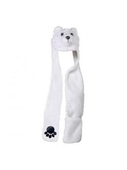 Bonnet écharpe fourrure ours blanc