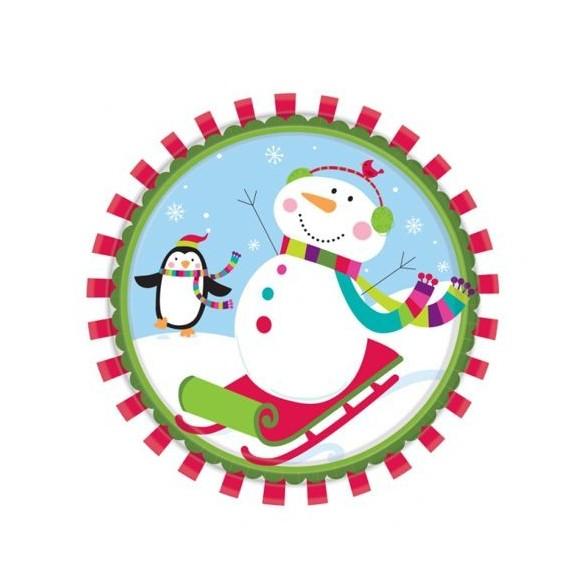 8 Assiettes bonhomme de neige