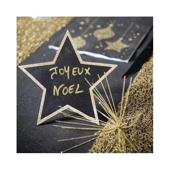 Marque-table étoile ardoise or