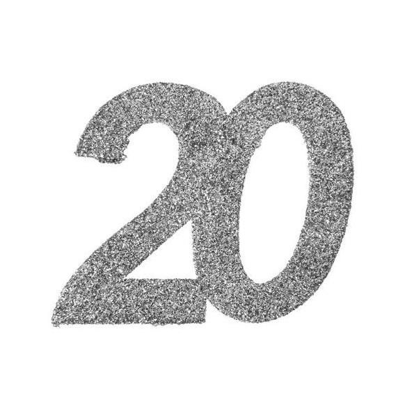 6 Chiffres paillettes argent 20 ans