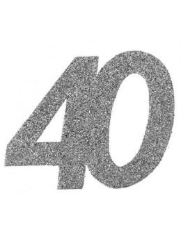 6 Chiffres paillettes argent 40 ans