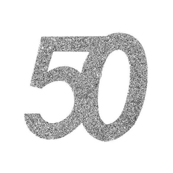 6 Chiffres paillettes argent 50 ans